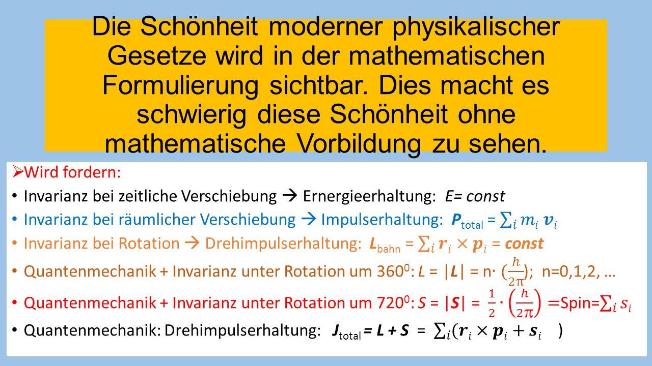 Die Schönheit moderner physikalischer Gesetze wird in der mathematischen Formulierung sichtbar. Dies macht es schwierig diese Schönheit ohne mathematische Vorbildung zu sehen.