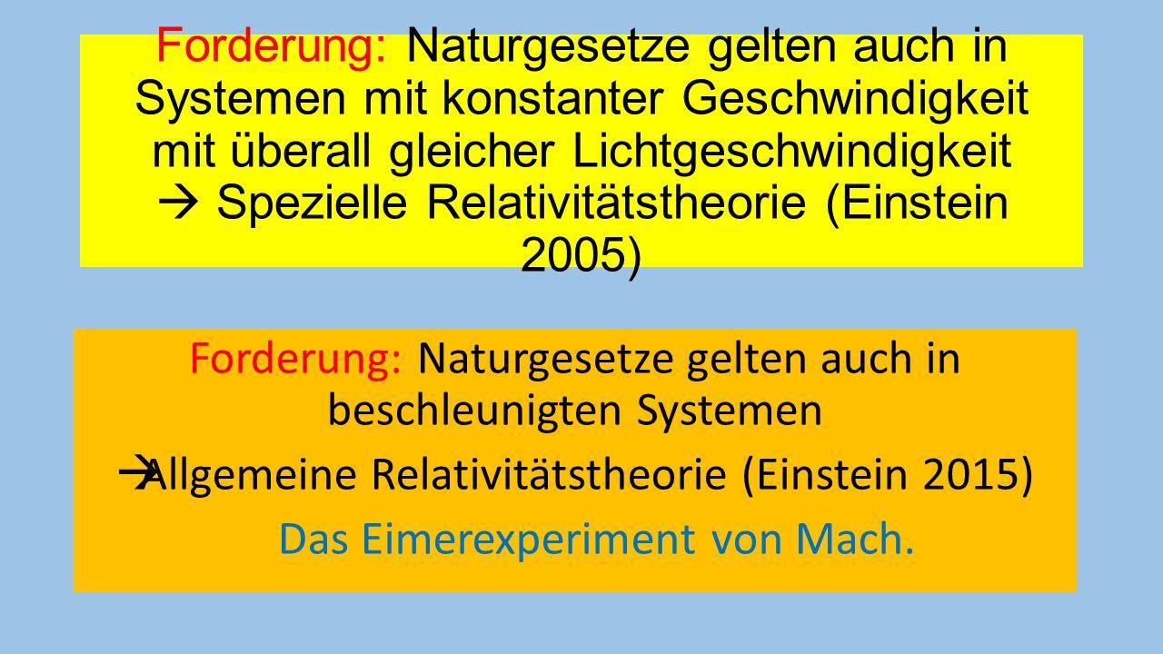 Forderung: Naturgesetze gelten auch in beschleunigten Systemen