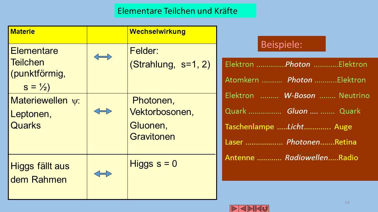 Beispiele: Elementare Teilchen und Kräfte