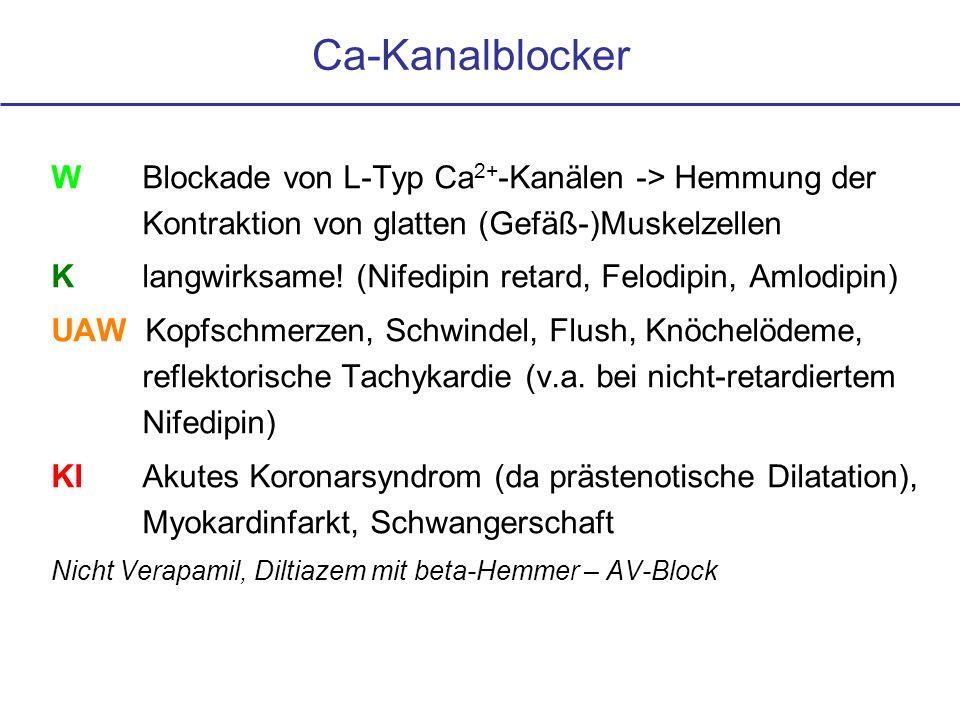 Ca-Kanalblocker W Blockade von L-Typ Ca2+-Kanälen -> Hemmung der Kontraktion von glatten (Gefäß-)Muskelzellen.