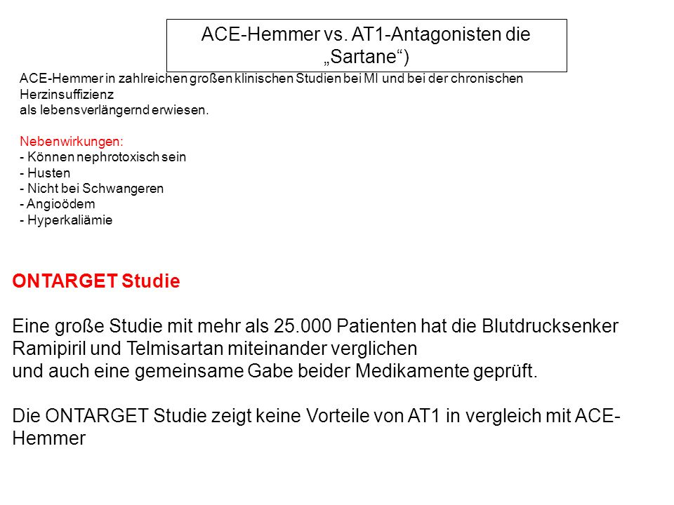 "ACE-Hemmer vs. AT1-Antagonisten die ""Sartane )"