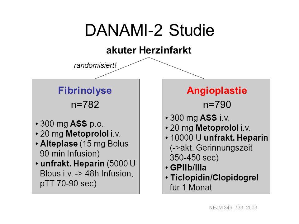 DANAMI-2 Studie Fibrinolyse Angioplastie n=782 n=790