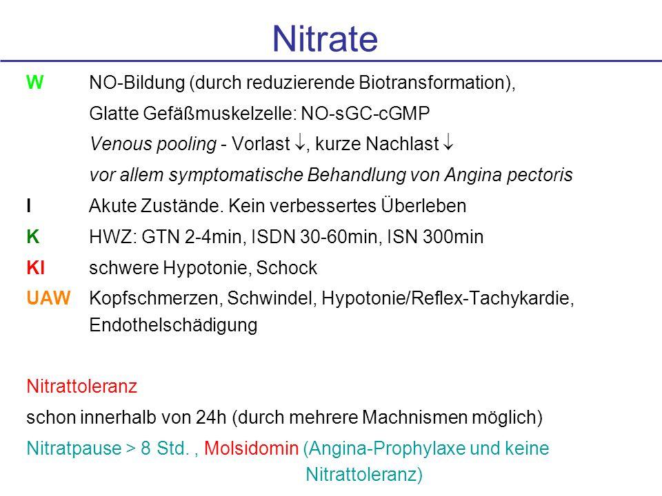 Nitrate W NO-Bildung (durch reduzierende Biotransformation),