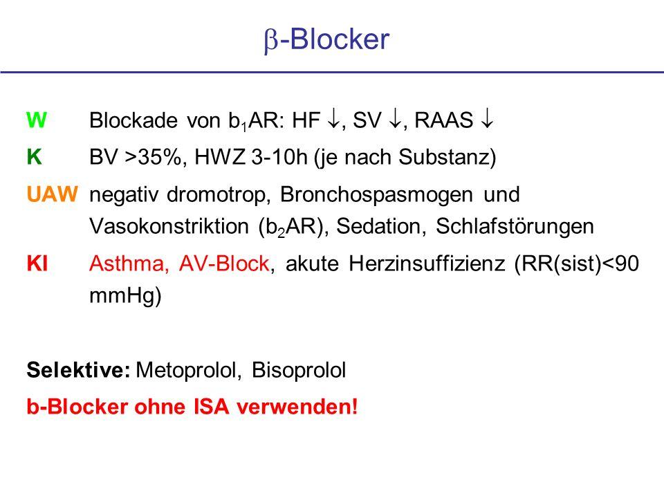 b-Blocker W Blockade von b1AR: HF , SV , RAAS 