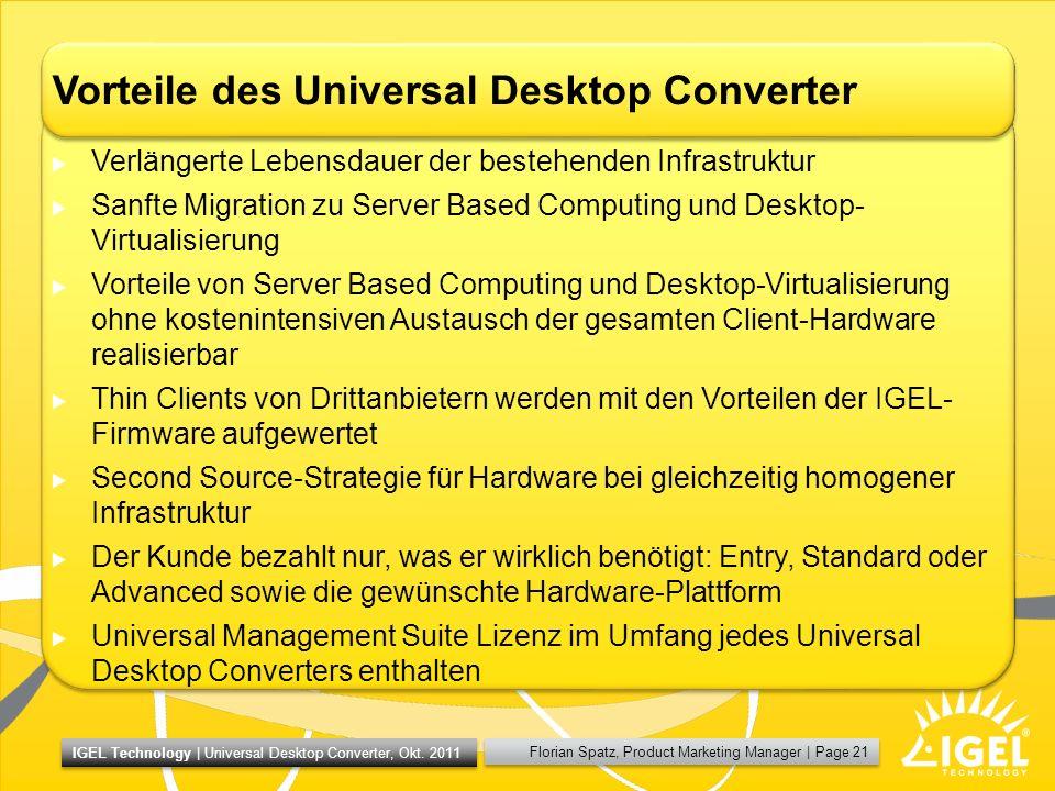 Vorteile des Universal Desktop Converter