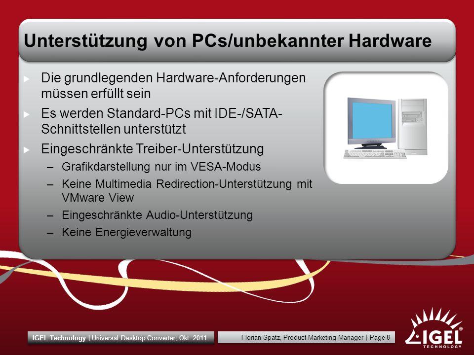 Unterstützung von PCs/unbekannter Hardware
