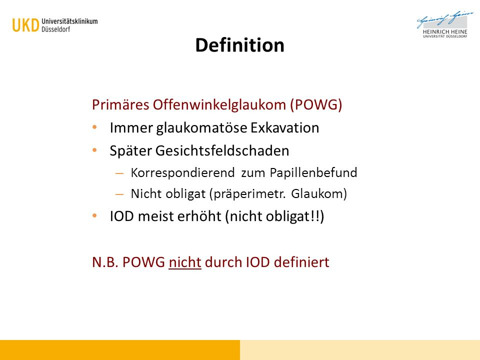 Definition Primäres Offenwinkelglaukom (POWG)