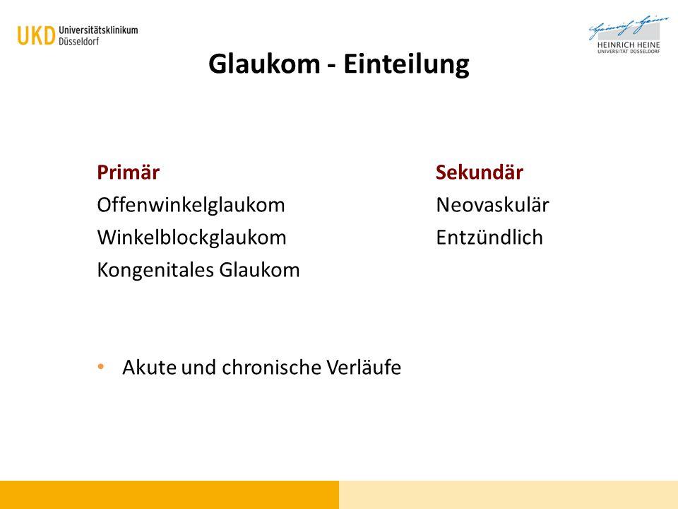 Glaukom - Einteilung Primär Sekundär Offenwinkelglaukom Neovaskulär