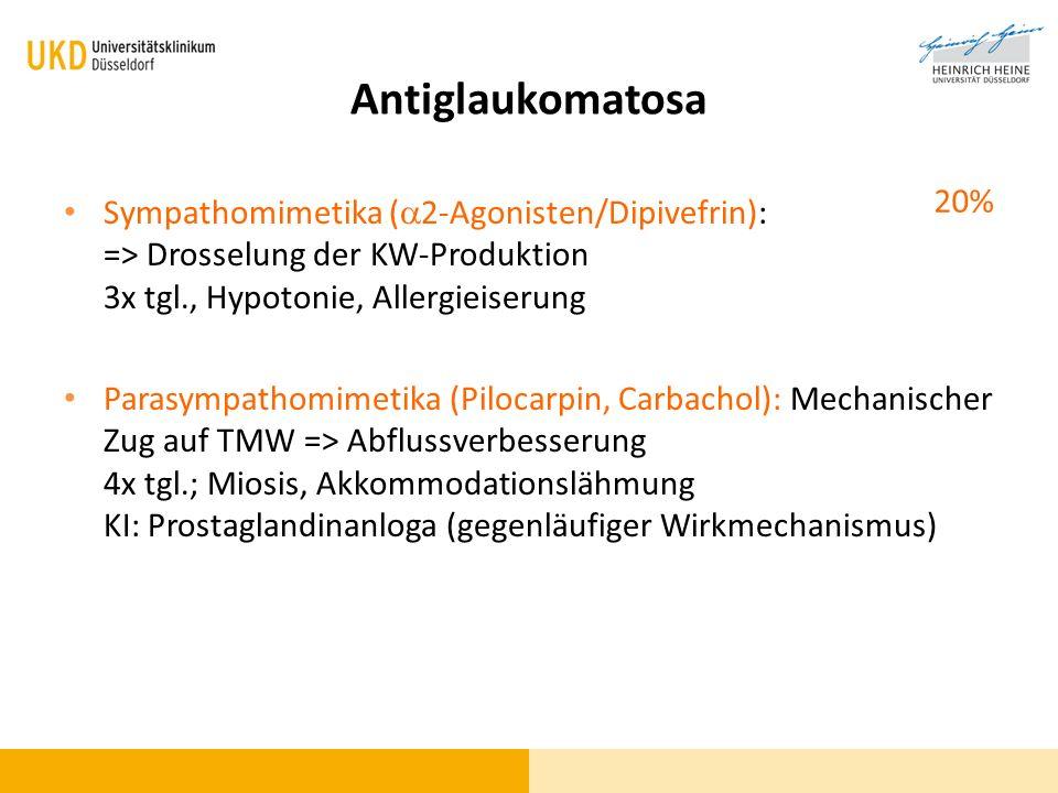 Antiglaukomatosa 20% Sympathomimetika (a2-Agonisten/Dipivefrin): => Drosselung der KW-Produktion 3x tgl., Hypotonie, Allergieiserung.