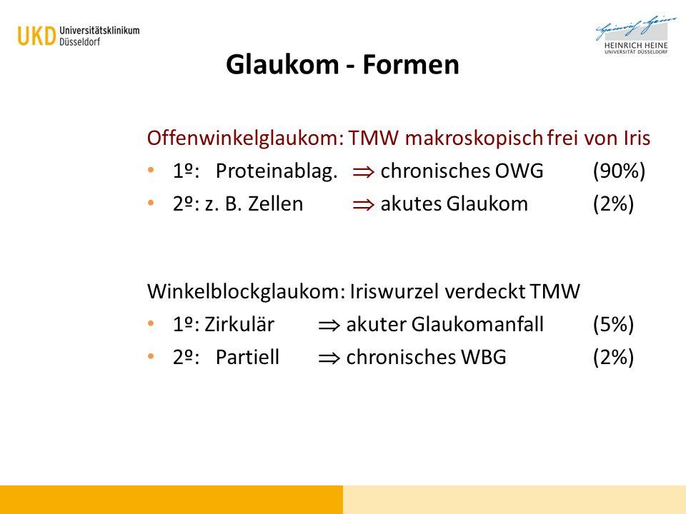 Glaukom - Formen Offenwinkelglaukom: TMW makroskopisch frei von Iris
