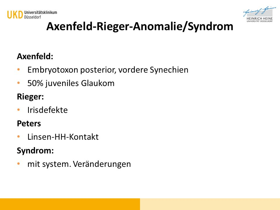 Axenfeld-Rieger-Anomalie/Syndrom