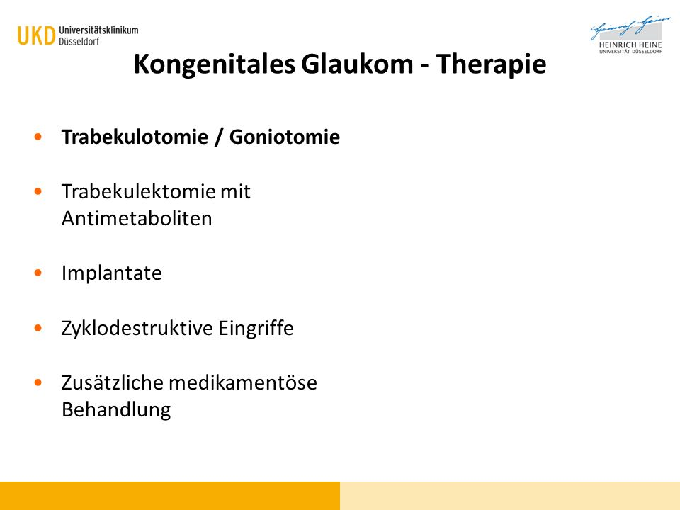 Kongenitales Glaukom - Therapie