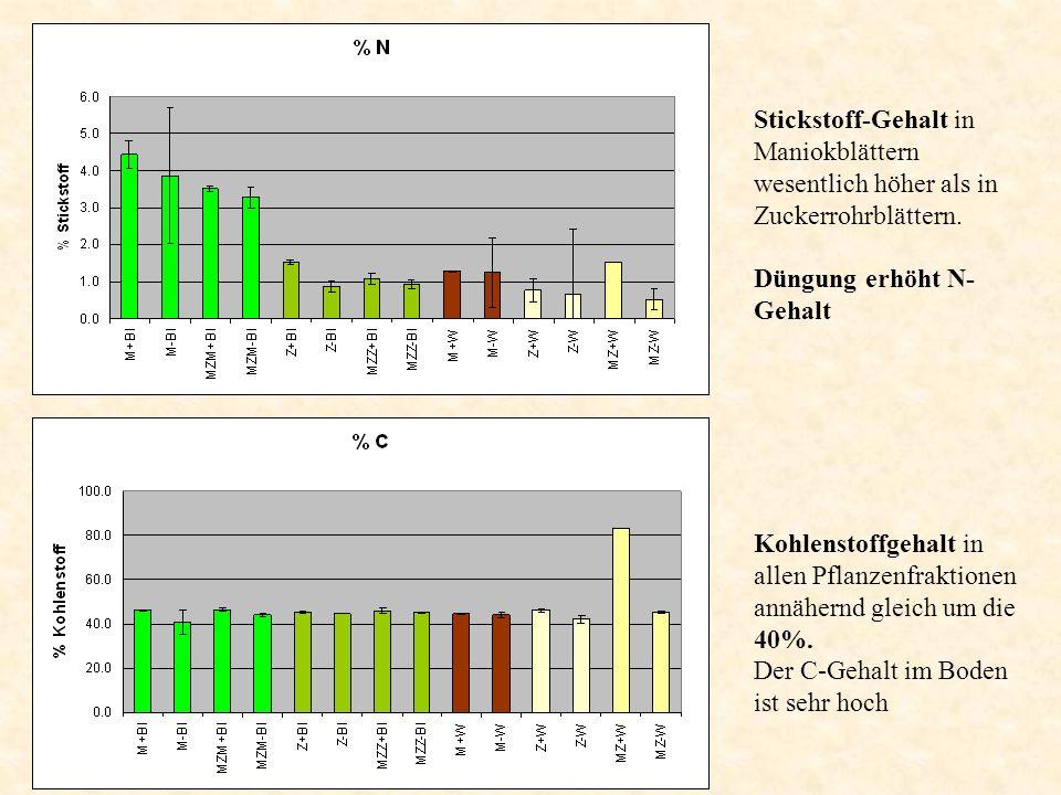 Stickstoff-Gehalt in Maniokblättern wesentlich höher als in Zuckerrohrblättern.