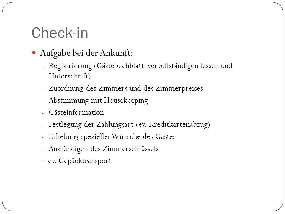 Check-in Aufgabe bei der Ankunft: