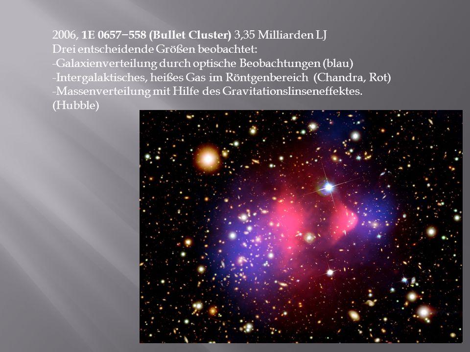 2006, 1E 0657−558 (Bullet Cluster) 3,35 Milliarden LJ