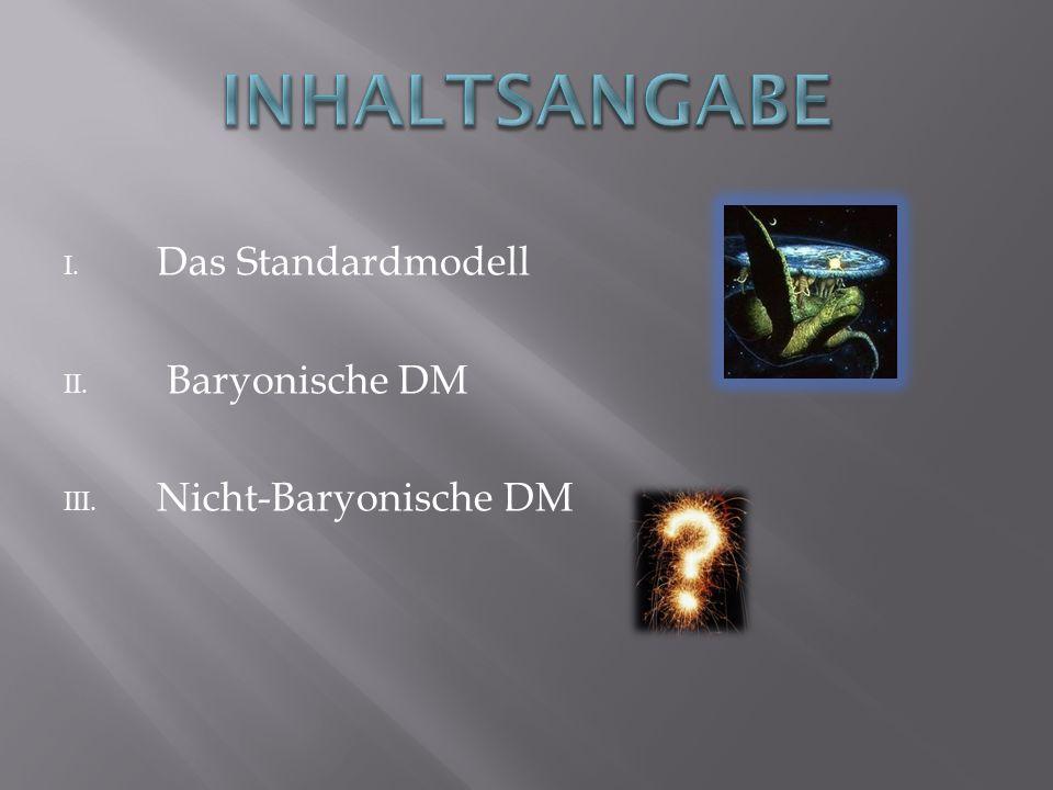 Inhaltsangabe Das Standardmodell Baryonische DM Nicht-Baryonische DM