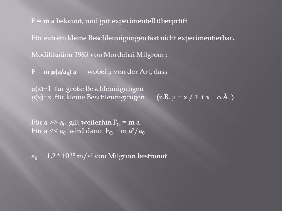 F = m a bekannt, und gut experimentell überprüft