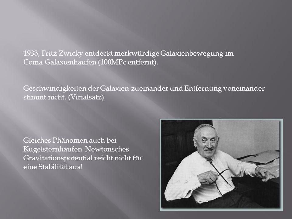 1933, Fritz Zwicky entdeckt merkwürdige Galaxienbewegung im