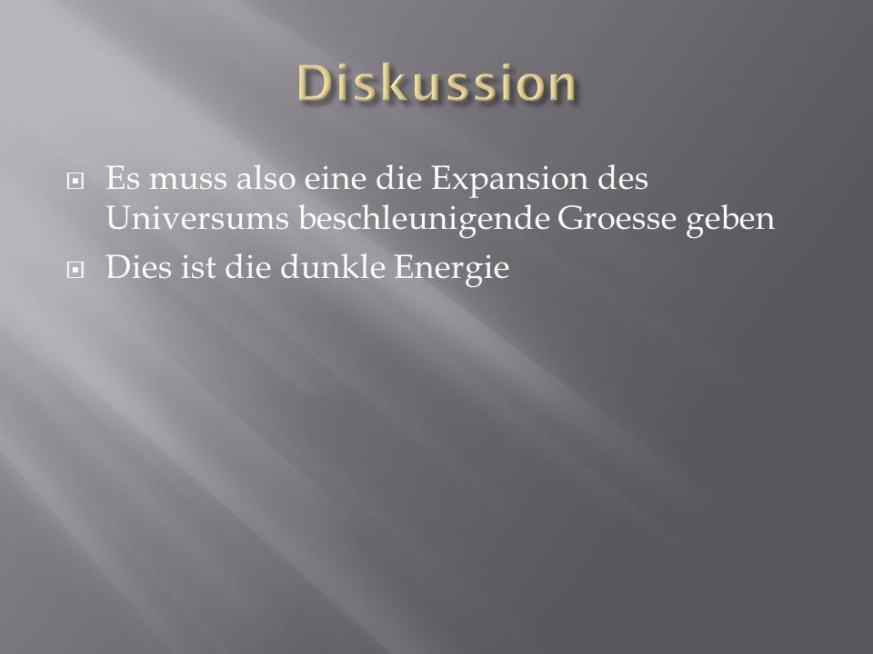 Diskussion Es muss also eine die Expansion des Universums beschleunigende Groesse geben.
