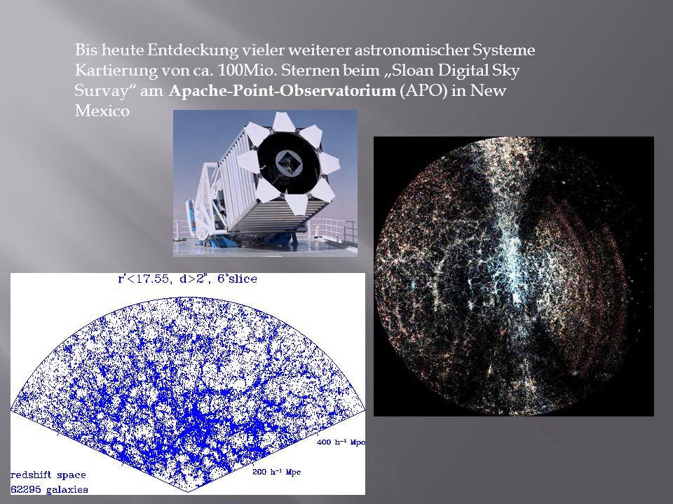 Bis heute Entdeckung vieler weiterer astronomischer Systeme