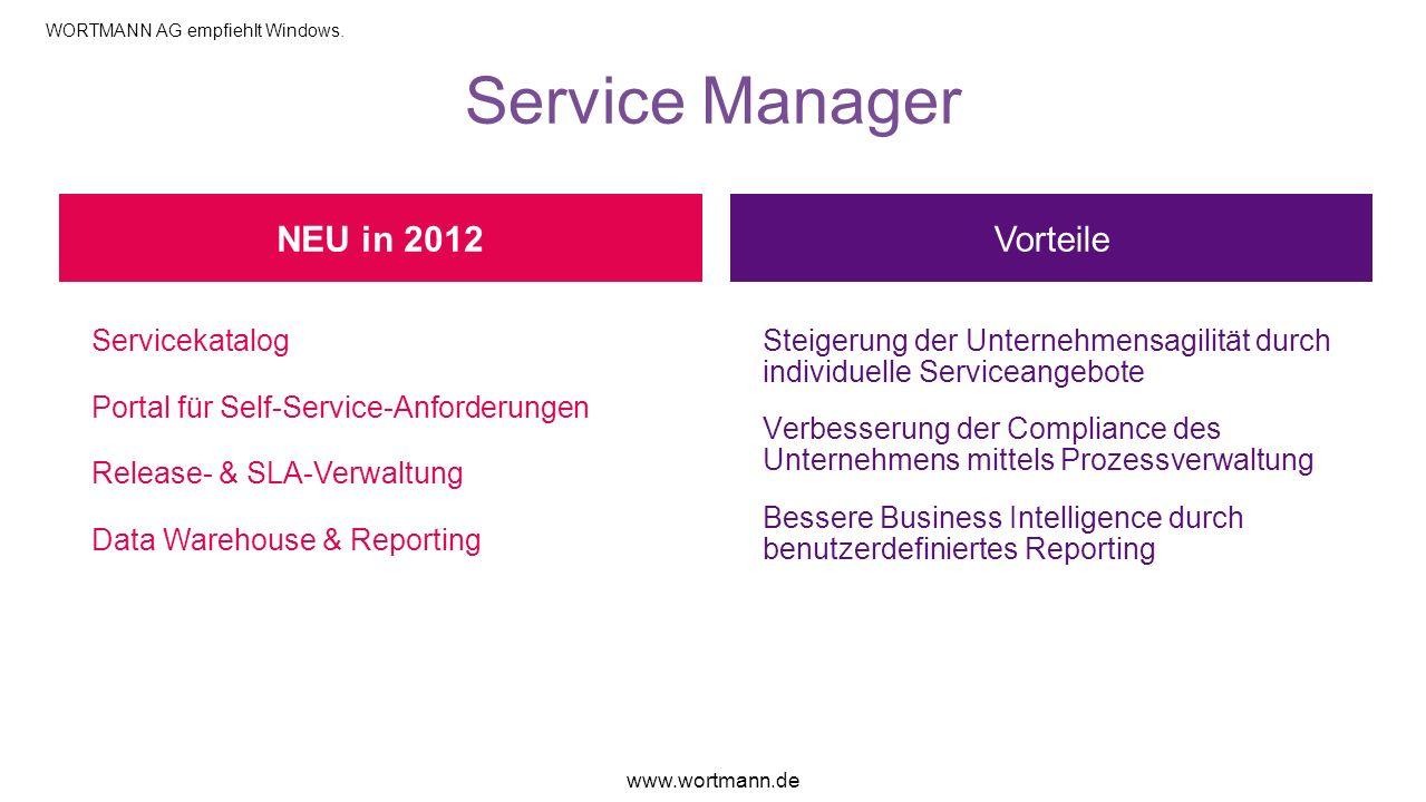 Service Manager NEU in 2012 Vorteile Servicekatalog
