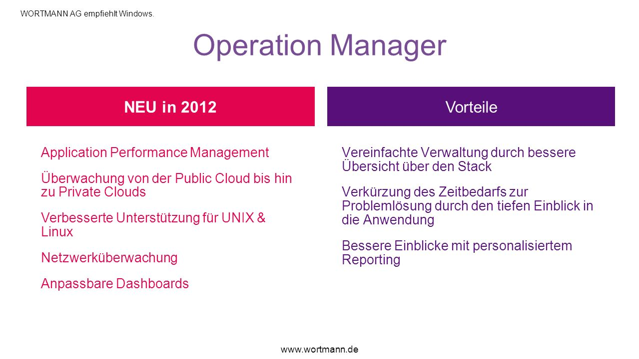 Operation Manager NEU in 2012 Vorteile