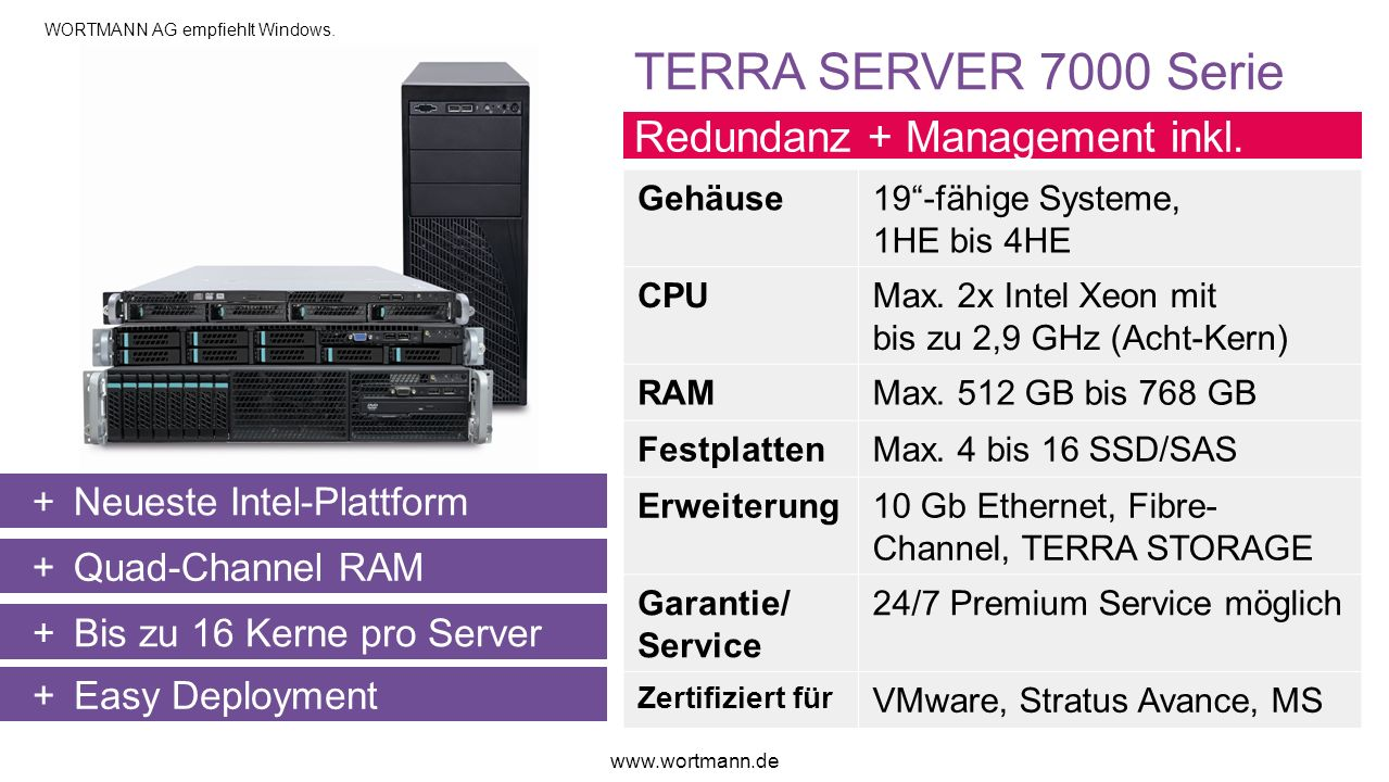 TERRA SERVER 7000 Serie Redundanz + Management inkl.