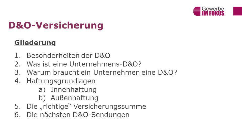 D&O-Versicherung Gliederung Besonderheiten der D&O