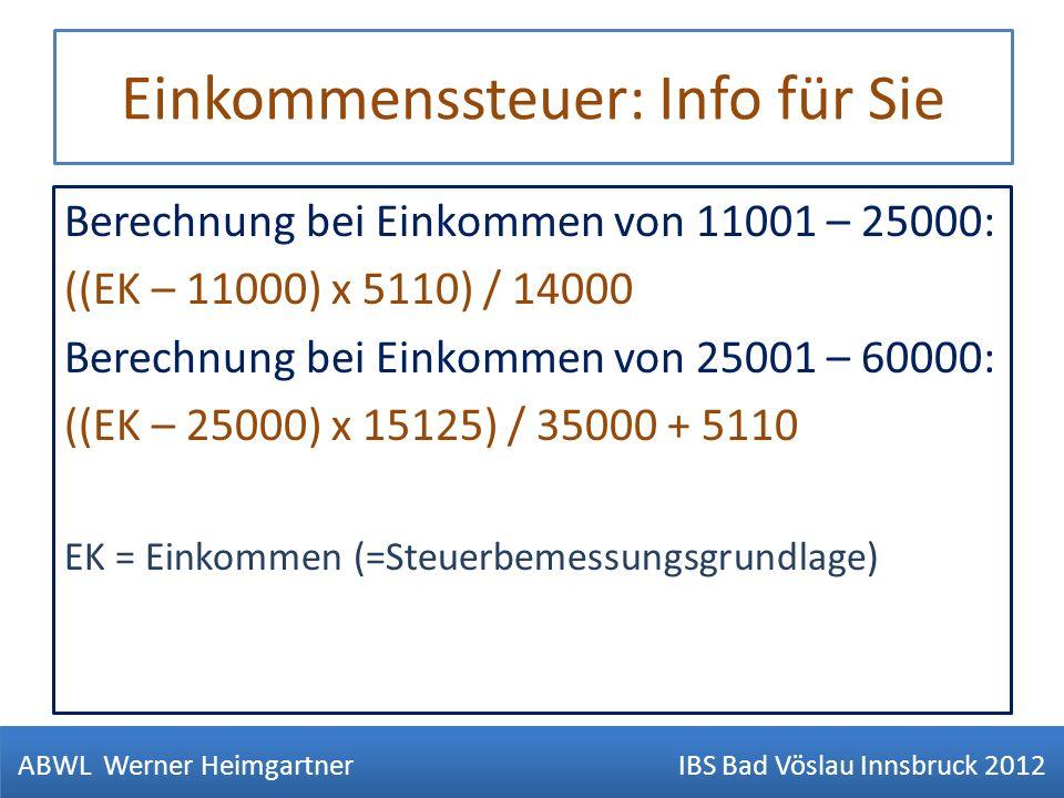 Einkommenssteuer: Info für Sie