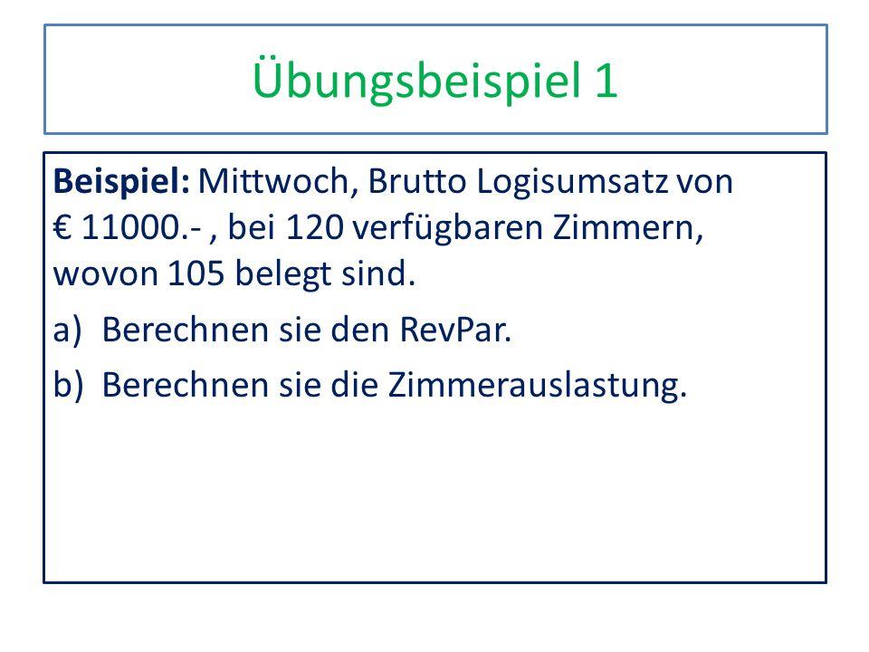 Übungsbeispiel 1 Beispiel: Mittwoch, Brutto Logisumsatz von € 11000.- , bei 120 verfügbaren Zimmern, wovon 105 belegt sind.