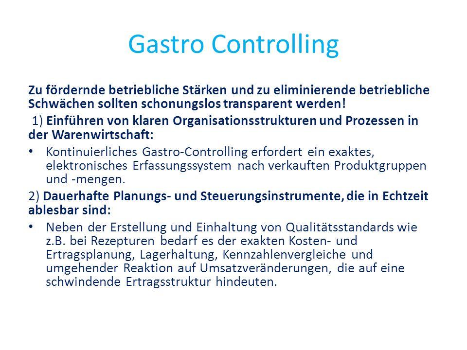 Gastro Controlling Zu fördernde betriebliche Stärken und zu eliminierende betriebliche Schwächen sollten schonungslos transparent werden!