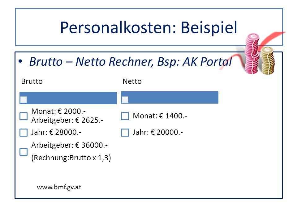 Personalkosten: Beispiel