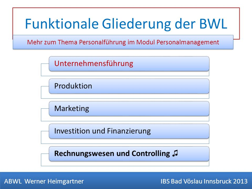 Funktionale Gliederung der BWL