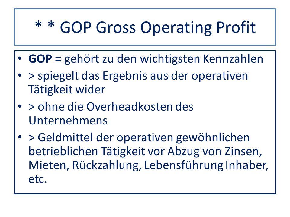* * GOP Gross Operating Profit