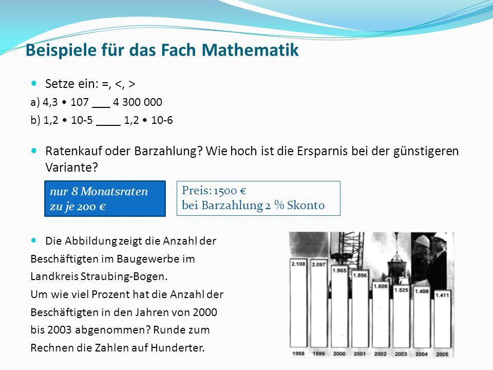 Beispiele für das Fach Mathematik