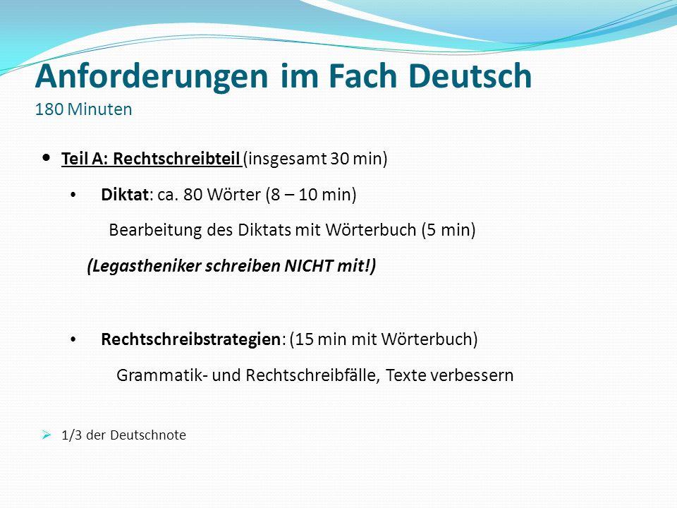 Anforderungen im Fach Deutsch 180 Minuten
