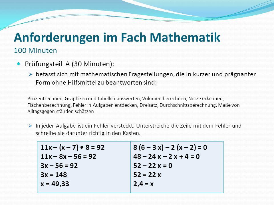 Anforderungen im Fach Mathematik 100 Minuten