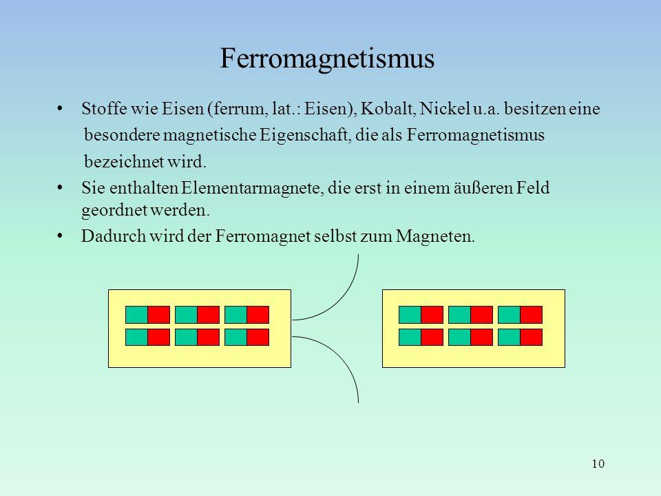 Ferromagnetismus Stoffe wie Eisen (ferrum, lat.: Eisen), Kobalt, Nickel u.a. besitzen eine.