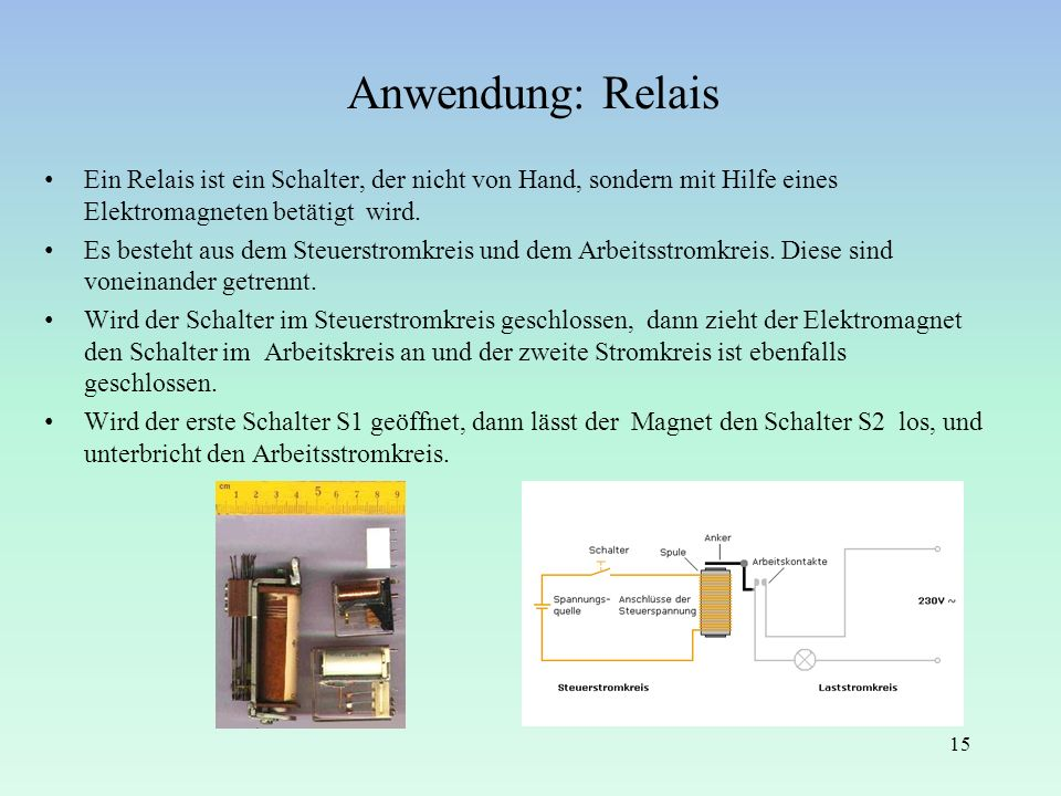 Anwendung: Relais Ein Relais ist ein Schalter, der nicht von Hand, sondern mit Hilfe eines Elektromagneten betätigt wird.