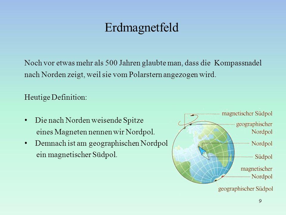 Erdmagnetfeld Noch vor etwas mehr als 500 Jahren glaubte man, dass die Kompassnadel. nach Norden zeigt, weil sie vom Polarstern angezogen wird.
