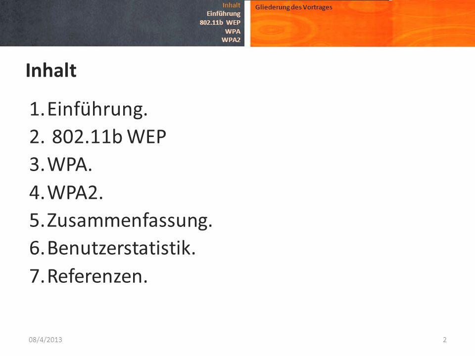 Inhalt Einführung. 802.11b WEP WPA. WPA2. Zusammenfassung.