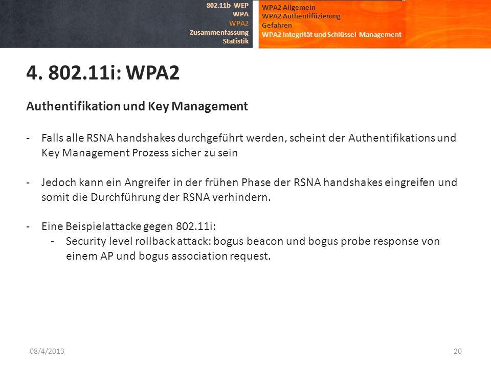 4. 802.11i: WPA2 Authentifikation und Key Management