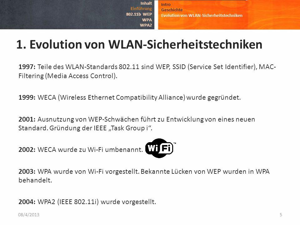 1. Evolution von WLAN-Sicherheitstechniken