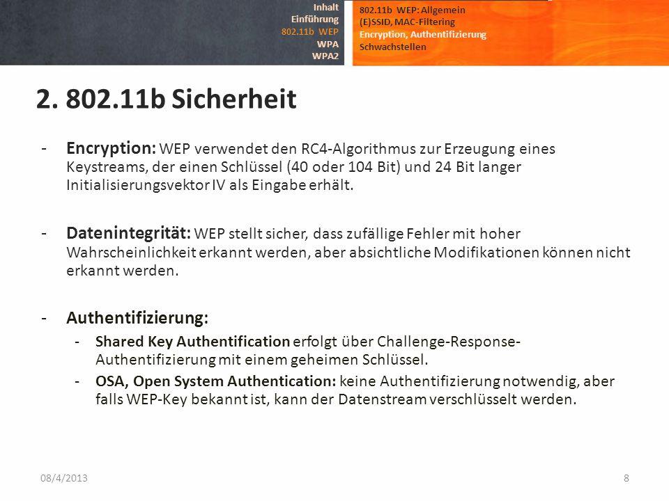 Inhalt Einführung. 802.11b WEP. WPA. WPA2. 802.11b WEP: Allgemein. (E)SSID, MAC-Filtering. Encryption, Authentifizierung.