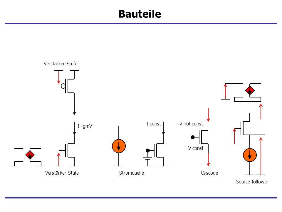 Bauteile Verstärker-Stufe I const V not const I=gmV V const