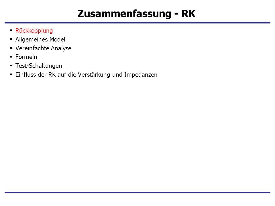 Zusammenfassung - RK Rückkopplung Allgemeines Model