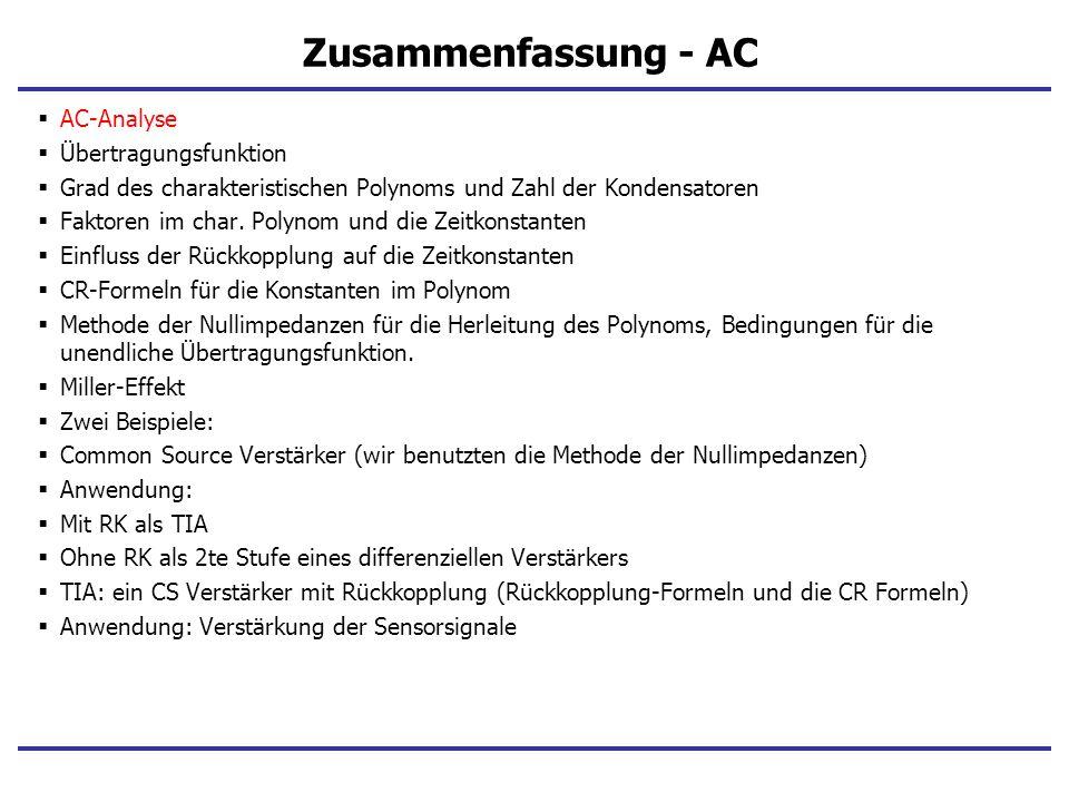 Zusammenfassung - AC AC-Analyse Übertragungsfunktion
