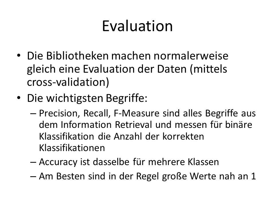 Evaluation Die Bibliotheken machen normalerweise gleich eine Evaluation der Daten (mittels cross-validation)