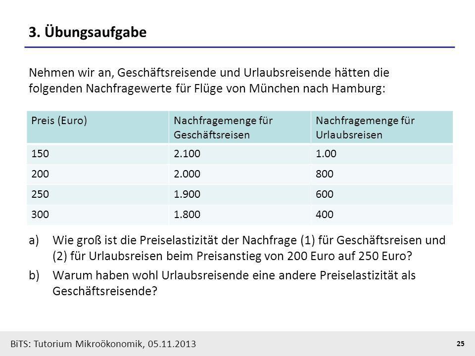 3. Übungsaufgabe Nehmen wir an, Geschäftsreisende und Urlaubsreisende hätten die folgenden Nachfragewerte für Flüge von München nach Hamburg: