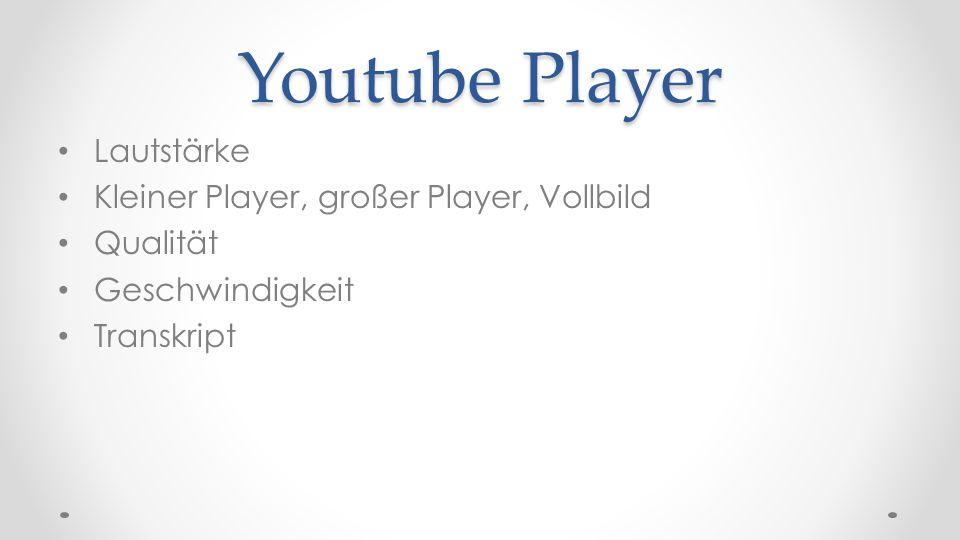 Youtube Player Lautstärke Kleiner Player, großer Player, Vollbild